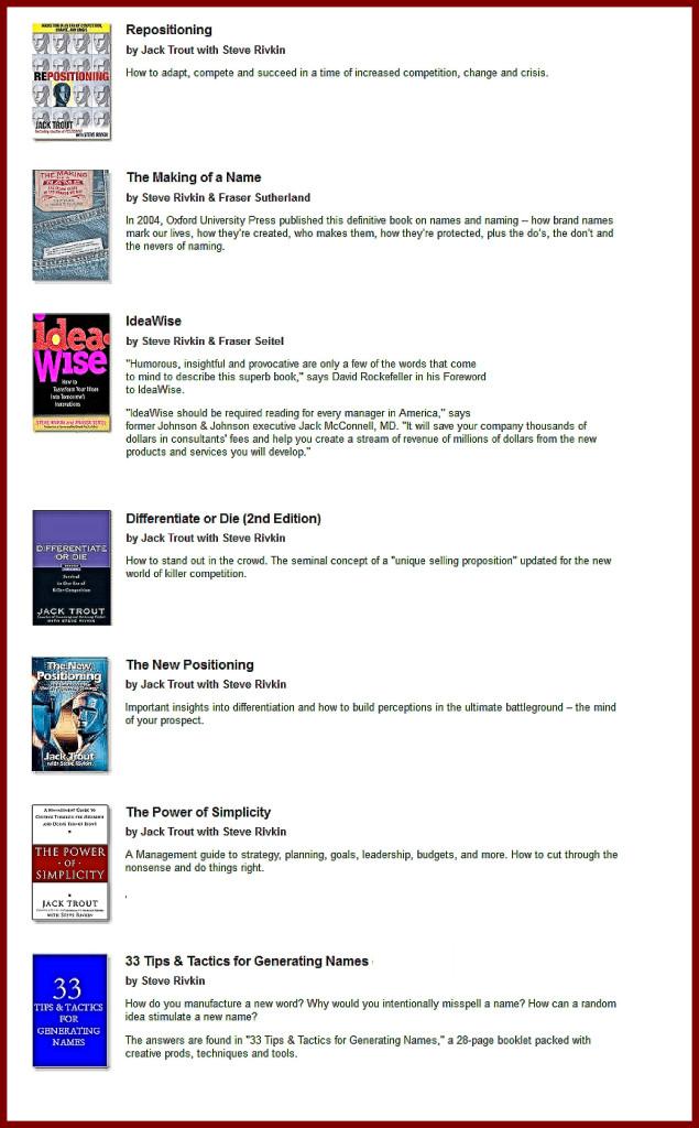 Steve Rivkin books- -